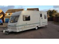 LUNAR CLUBMAN 2 Berth Caravan with full awning. watch my Video walk around
