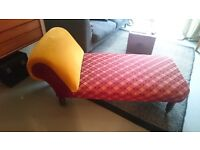 19th Century Day Bed, beautifully re-upholstered, turned legs on wheels