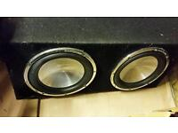 2 x 1000w RMS 12 inch subs in box