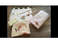 Mamas and papas nursery baby set curtains tie back cot bed blanket