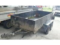 Solid px to clear 8ft X 4ft unbraked tandem axle droptailgate trailer no vat