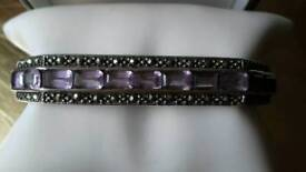 Marquiset and amethyst silver bangle