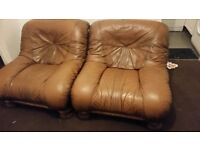 3 piece leather and wood suite. Used.