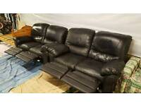 2 x 2 seater reclining leather sofas