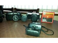Konica SLR 35mm cameras with selection of lenses for sale