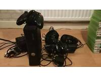 Xbox 360, with 2 headsets, kinect, 1 controller (wired) and 32 games