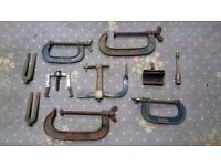 Old toolbox and selection of G clamps