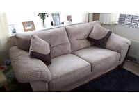 DFS 3 seater sofa mink cordrouy excellent condition, extra dense foam seats, all washable,