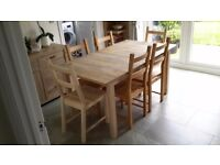 Ikea Birch extendable dinning table and 6 chairs