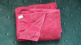 John Lewis/Dunlm Cherry Red Eyptian Cotton Towel/Bath Mat Bale