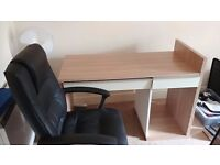 Computer desk and office chair.