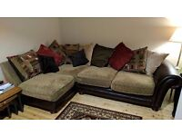 Brown leather and fabric corner sofa (great condition)