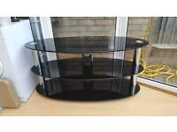 Black Glass & Chrome Oval Television Stand