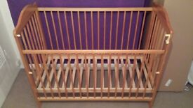 Cot bed with mattress and bumper