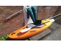 PYRANHA H3 255 Kayak with equipment