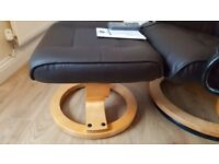 Wooden Base, Dark Brown Leather Heated / Electric Massage Swivel Chair & Foot Stall - Never used.