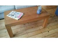 Chunky wood coffee table and side table