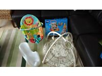 bright starts baby bouncer chair, vtech baby walker, play mat and bath seat
