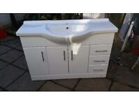 White gloss sink unit with cupboards and drawers