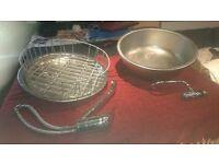 round stainless steel sink, tap & separate round drainer