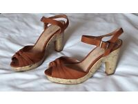Fab Suede and Cork Platform Sandals Size 7