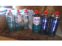 6 butane gas canisters
