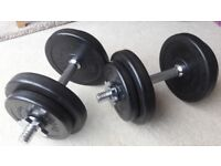 BODYMAX DELUXE RUBBER 18KG DUMBBELL WEIGHTS SET