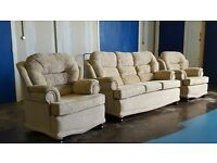 NICE & CLEAN FABRIC SET 3 SEATER SOFA / SUITE / SETTEE AND 2 CHAIRS / ARMCHAIRS DELIVERY AVAILABLE