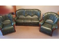 Leather 3 piece suite dark green 3 seater settee + 2 chairs excellent condition