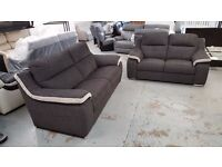 ScS SiSi ITALIA MATTEO GREY & CREAM FABRIC 3 Seater & 2 Seater Sofas CAN DELIVER