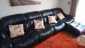 ltalian black leather 6 seater settee