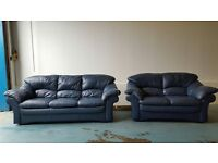 ITALIAN BLUE LEATHER SOFA SET 3 SEATER & 2 SEATER SUITE / SETTEE MADE IN ITALY DELIVERY AVAILABLE