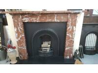 Antique Rouge Marble Fireplace