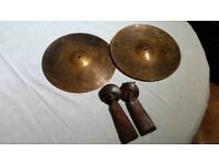 12 INCH AVEDIS ZILDJIAN MARCH BAND CYMBALS WITH MEINL HANDLES