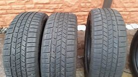 3x CONTINENTAL CROSS CONTACT PART WORN WINTER TIRES TYRE 235 55 R 18 100H