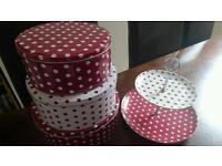 Cake tins and cake stand