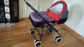 Cossatto Cot Pram/Pushchair - Navy & Red & separate car seat.