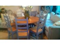 Stunning Pine Round Dining Table and 8 Chairs