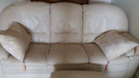 Three & Two Seater Cream/Ivory Leather Sofas and Footstool