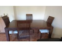 Dinning table with four chairs dark brown wood