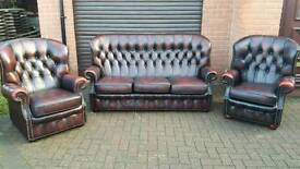Chesterfield style, genuine oxblood leather 3 piece suite. EXCELLENT CONDITION! BARGAIN!