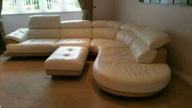 Cream/Fawn Leather Corner Sofa and Cuddle Chair