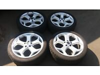 18 FORD FOCUS ST ALLOY WHEELS 5 X 108 MONDEO TRANSIT CONNECT VOLVO C30 ETC MATCHING DUNLOPS