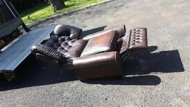 brown leather button back Chesterfield reclining armchair in excellent condition £199