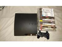 Sony PlayStation 3 Slim 120 GB Charcoal Black with 16 games and controller