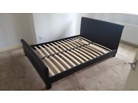 Black Faux Leather King Size Bed Frame
