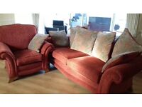 3 SEATER SETTEE AND CHAIR IN DEEP TERRACOTA.......EXCELLENT CONDITION ....