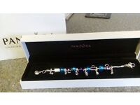 pandora bracelet complette with charms gift box and bag