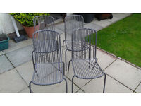 Grey Metal Patio Chairs x 4