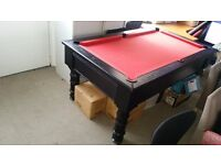 Free Play Pool Table (Black with Red Felt) 6x3 with Cues and Equipment